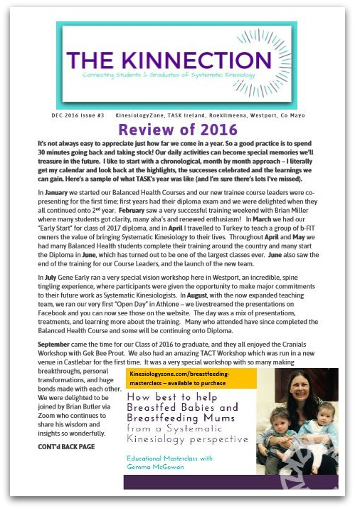 Kinnection Newsletter Review of 2016 KinesiologyZone